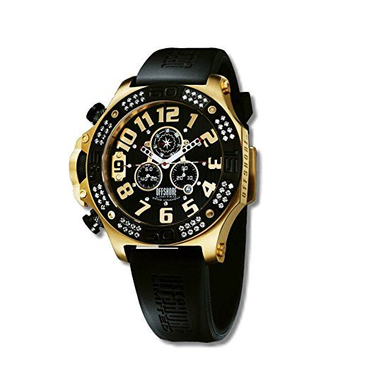 Offshore Limited 009 PR G - Reloj cronógrafo de cuarzo para hombre con correa de silicona, color negro