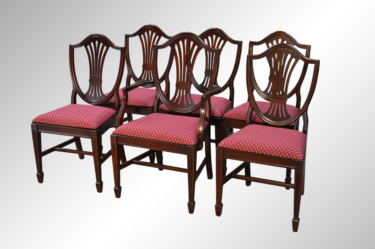 Sold Set Of Six Mahogany Duncan Phyfe Shield Back Dining Chairs
