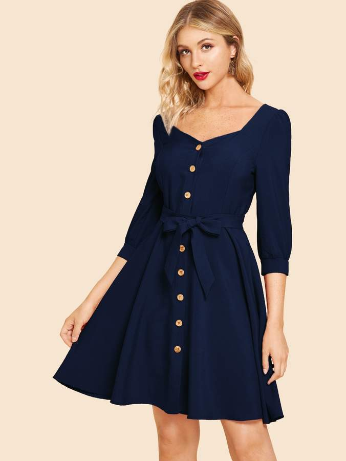 18e2db2805d Shein 80s Button Front Belted V-neck Solid Dress in 2019