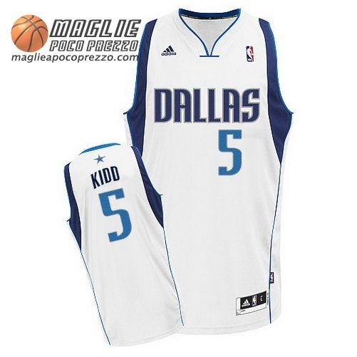 nuove varietà colori armoniosi A basso prezzo Canotte nba Swingman Kidd #5 bianco Dallas Mavericks ...