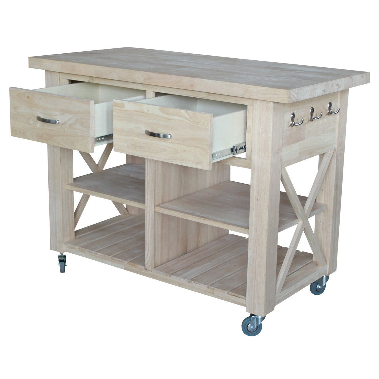 Buy Furniture Online Free Shipping: Unfinished X-Side Kitchen Island - 48""