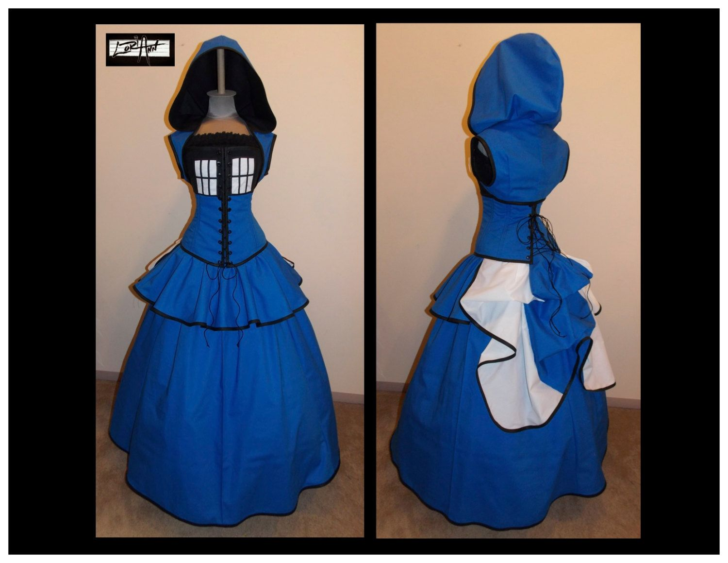 Because One Can Never Have Too Many Tardis Dresses Blue Black And White Full Bustle Gown Costume Custom By Loriann Designs