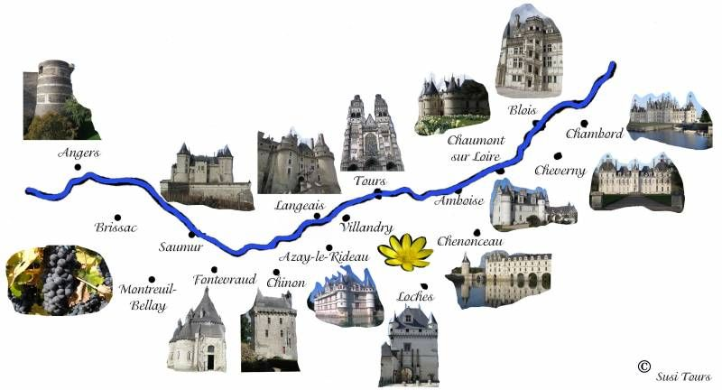 carte des chateau de la loire château de la loire | Loire river, Paris travel, Places to go