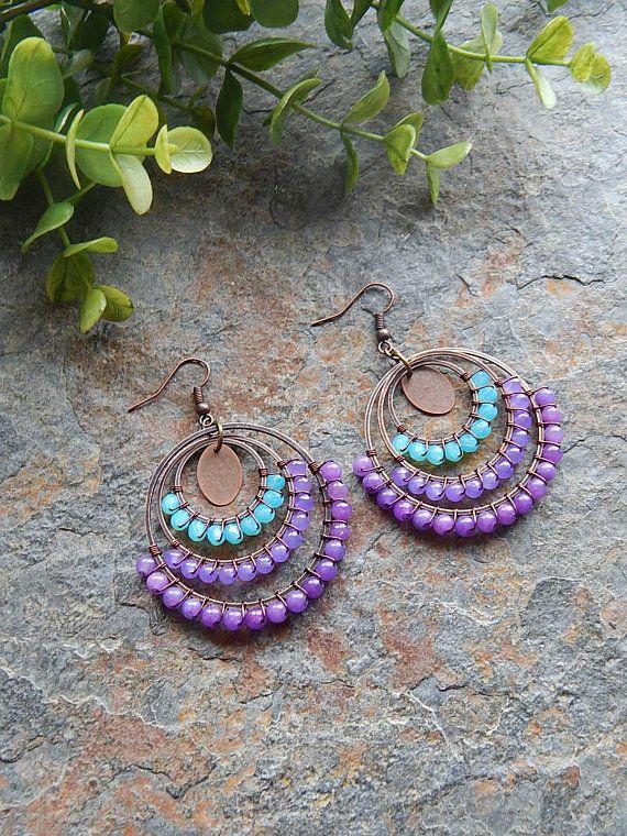 aqua and purple handcrafted bohemian jewelry boho style colorful big gypsy earrings Beaded Hoop earrings wire wrapped hoops