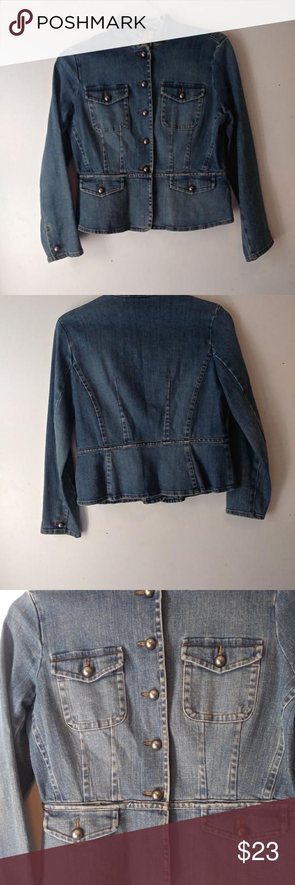 Talbots Jean Jacket Denim Coat Sz 10 Denim Coat Denim Jacket Jean Jacket [ 1740 x 580 Pixel ]