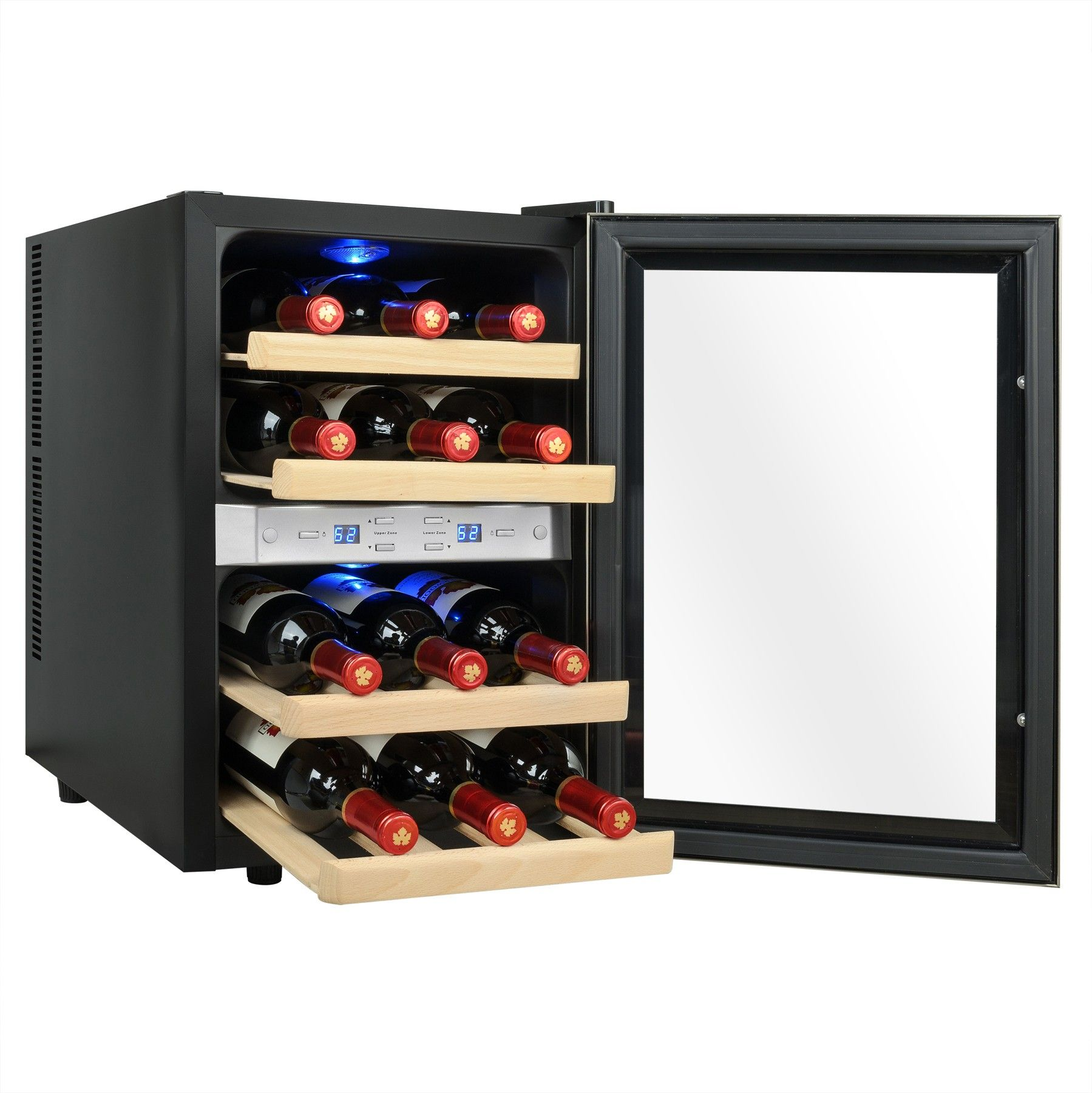AKDY WC0028 - 12-Bottle Dual Zone Thermoelectric Wine Cooler Chiller in Stainless Steel with  sc 1 st  Pinterest & AKDY WC0028 - 12-Bottle Dual Zone Thermoelectric Wine Cooler Chiller ...