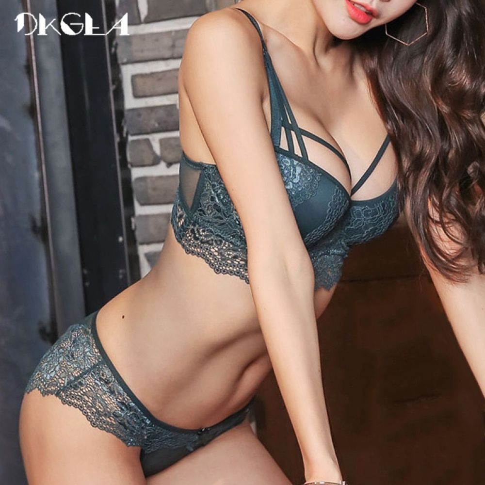 cf7dae2c8513b New Top Sexy Underwear Set Cotton Push-up Bra and Panty Sets 3 4 Cup Brand  Green Lace Lingerie Set Women Deep V Brassiere Black Price  28.20   FREE  Shipping