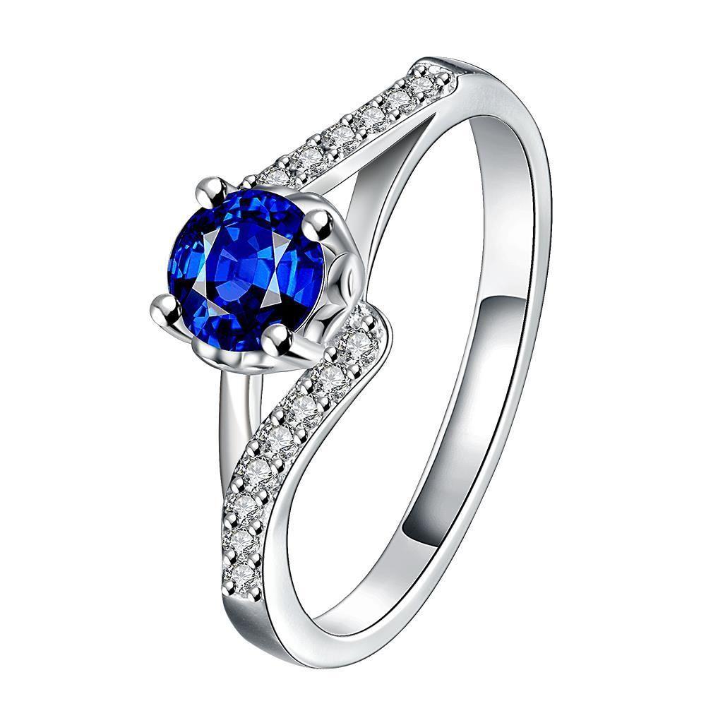 Mock Sapphire Swirl Design Petite Ring Size Women's