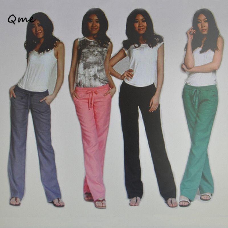 4bbe02fc76e94 Trousers women pants linen plus size women clothing pantalon ladies wide  leg Elastic Waist trousers female loose fat 2CWJ011