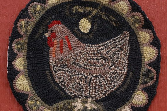 Rug Hooking Pattern/paper Pattern/Chicken/Chair Pad/Hooked Rug Pattern/ Primitive Round/Processing Time Is Days