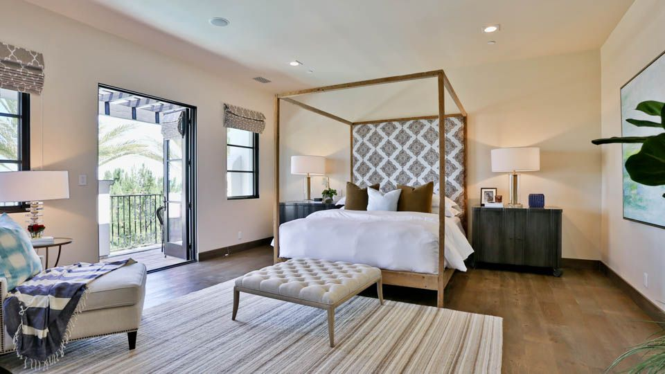 Master Suite with balcony, wood floors, custom fireplace and spa ...