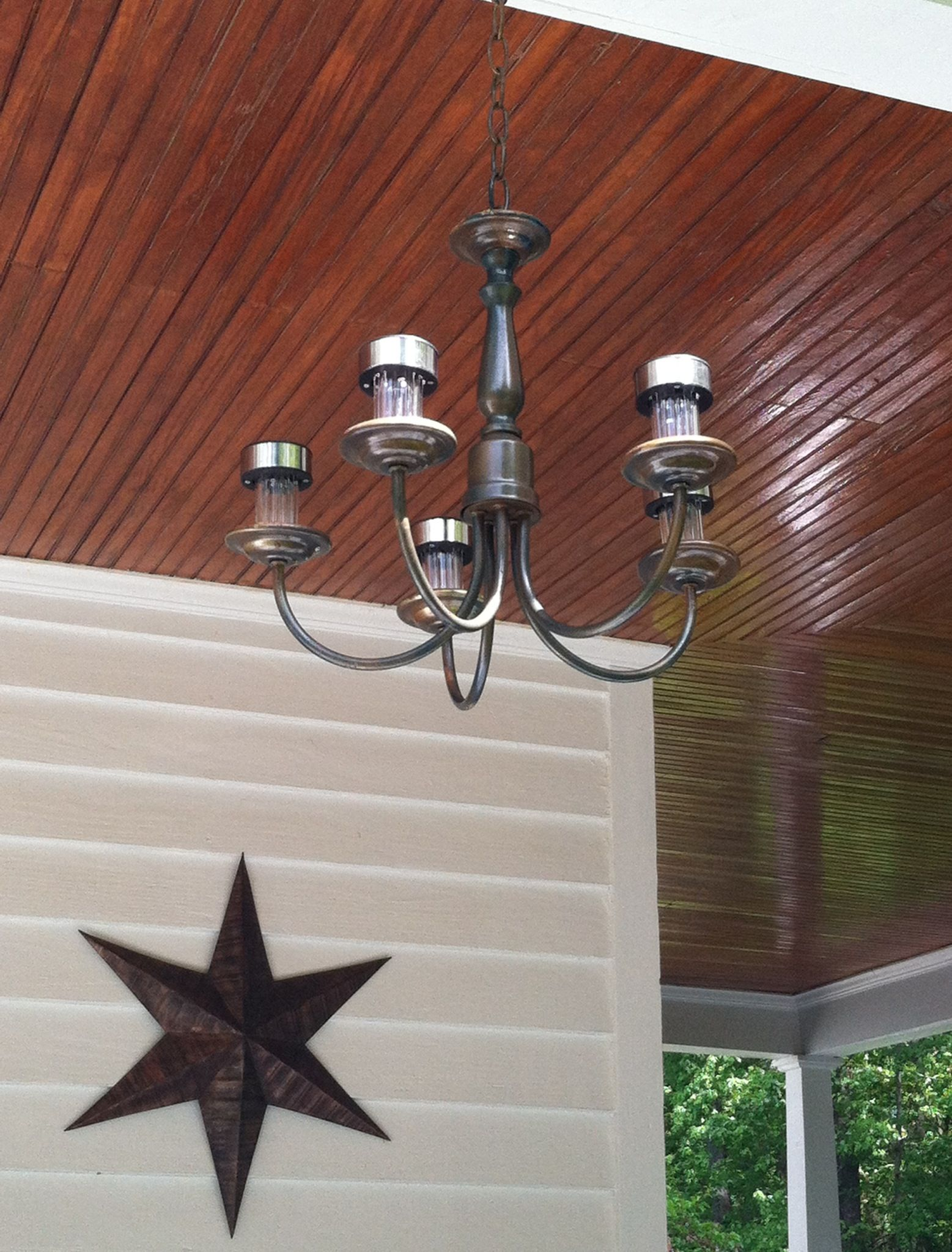 Upcycle old brass chandelier solar lights farmhouse porch