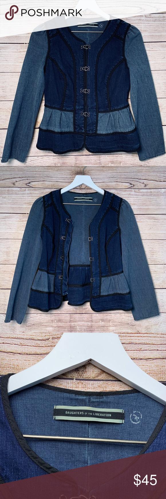 Anthro Daughters Of Liberation Peplum Denim Jacket Denim Jacket Clothes Design Anthropologie Jacket [ 1740 x 580 Pixel ]