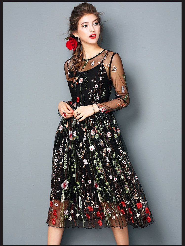6caedeede76 Elegant Black Flower Embroidered Dress. Elegant Black Flower Embroidered  Dress Long ...