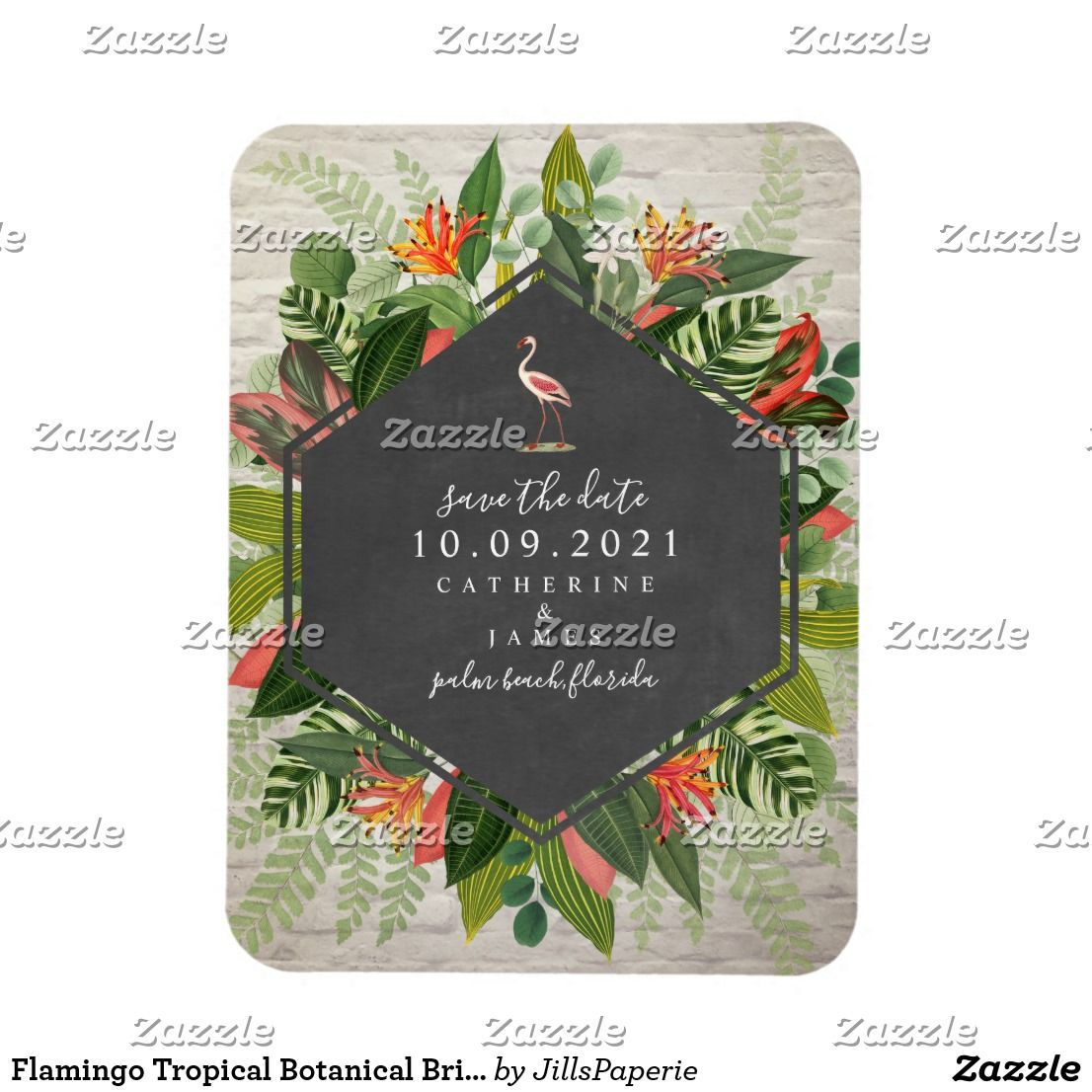 Flamingo Tropical Botanical Brick Wedding Zazzle