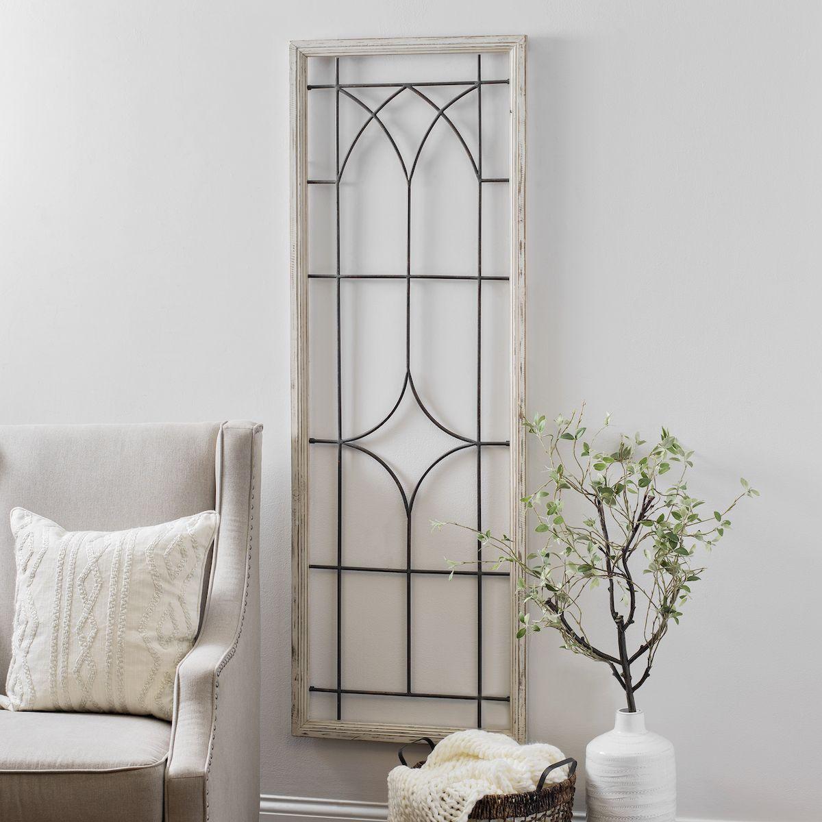 Window Wood And Metal Panel Wall Plaque