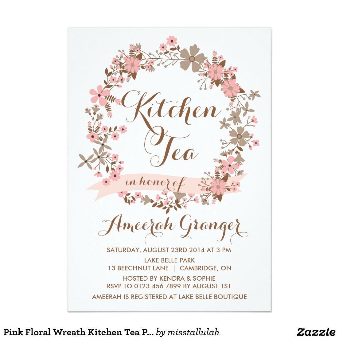 Pink Floral Wreath Kitchen Tea Party Invitation | Kitchen tea ...