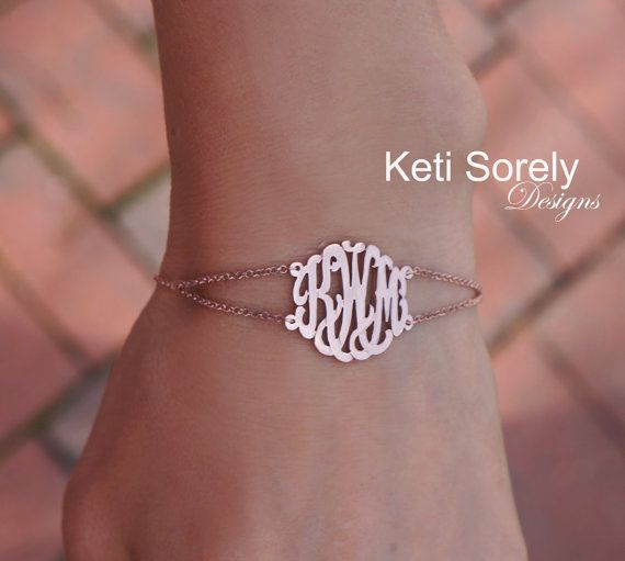 Monogram Bracelet Or Anklet With Double Chain Order Any Initials 10k 14k 18k Solid Gold Or Sterling Silver W Yellow Monogram Bracelet Anklets Bracelets