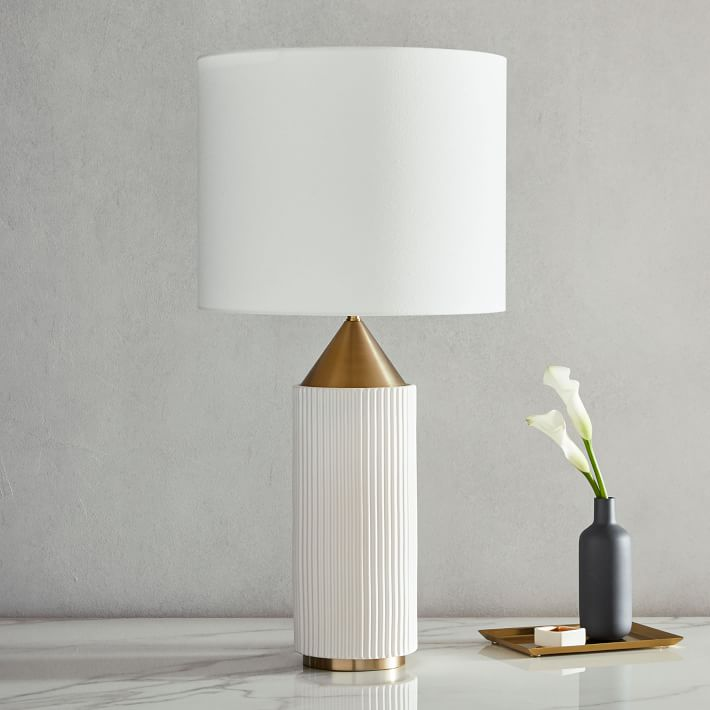 Modern Fluted Table Lamp Large In 2020 Table Lamp Design Table Lamp Ceramic Table Lamps