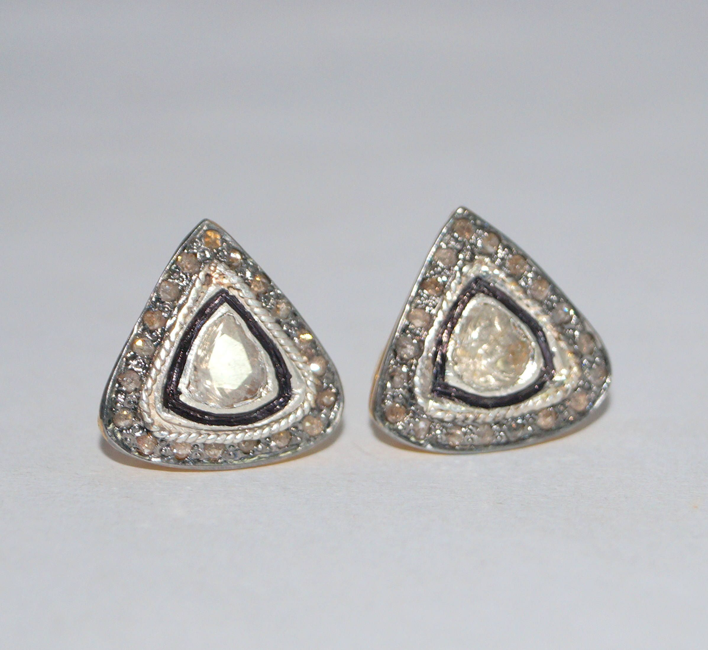 Elegant 1 90ct Rose Cut Uncut Pave Diamond Sterling Silver Studs