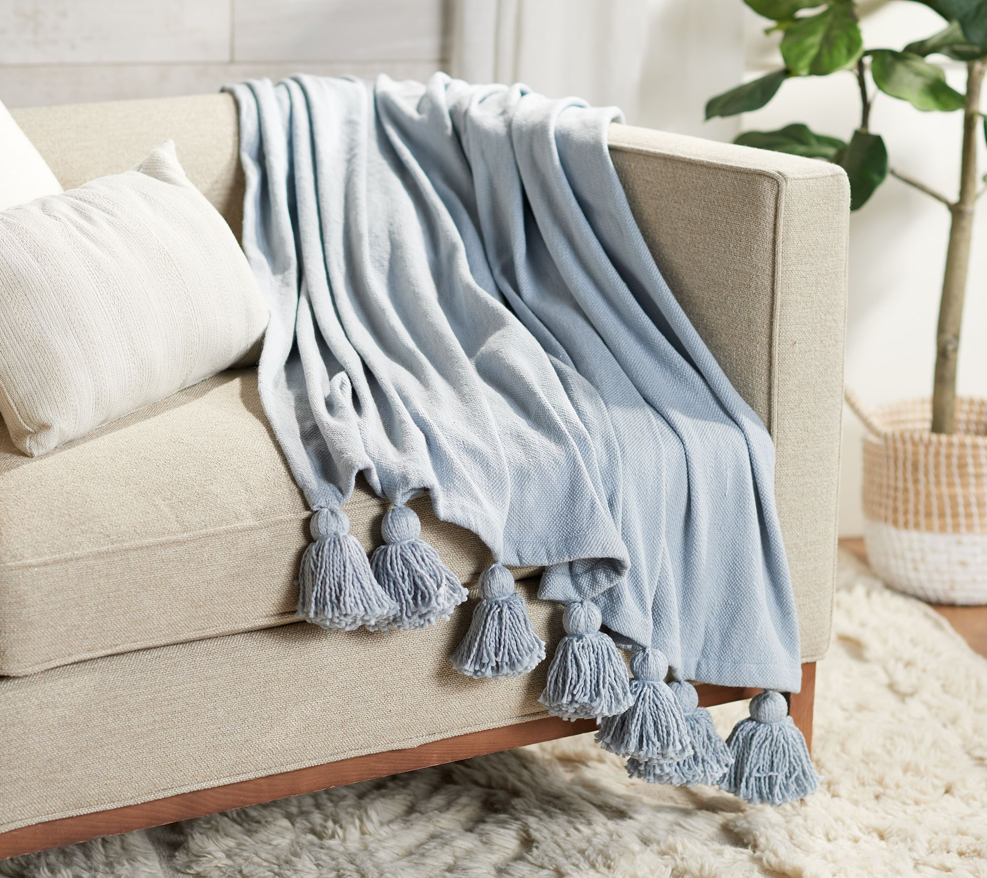 Pearl Blue Knit Throw 50 X 60 With Tassels By Lauren Mcbride Qvc Com In 2021 Blue Throw Blanket Knitted Throws Couch Throw Blanket