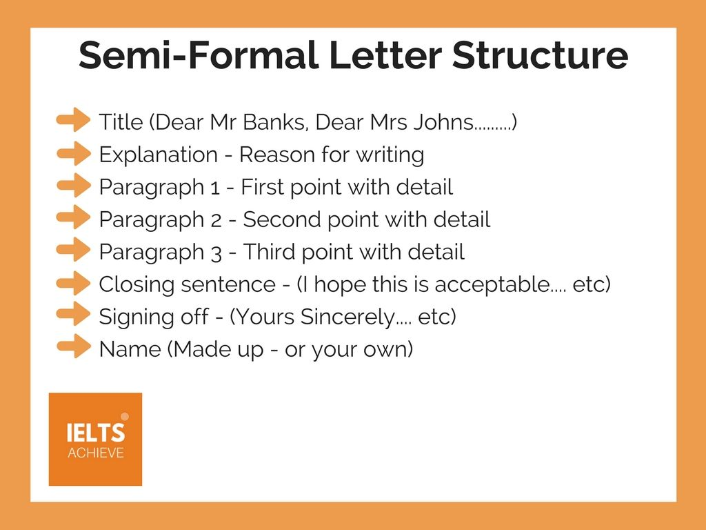 ielts semi formal letter structure