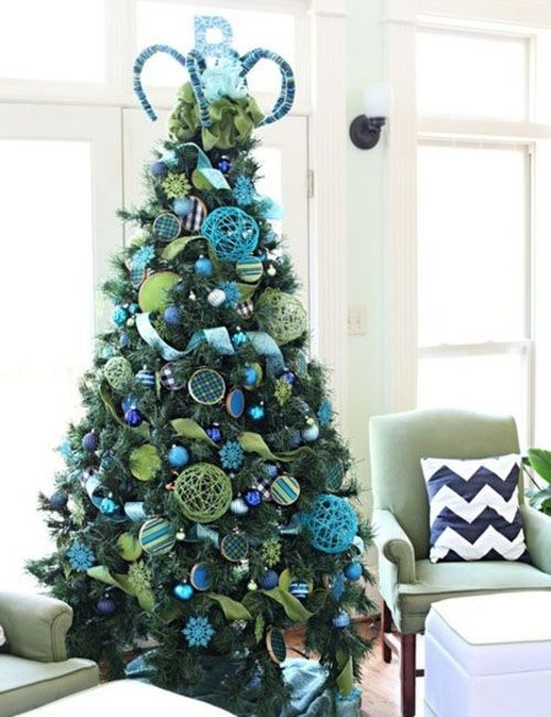 sapin de noel bleu | inspirations de decorations de sapins de noel
