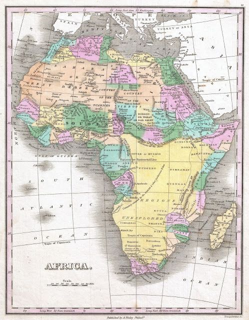 Africa, 1827, by Anthony Finley (1790-1840), American Cartographer - best of world atlas middle east outline map