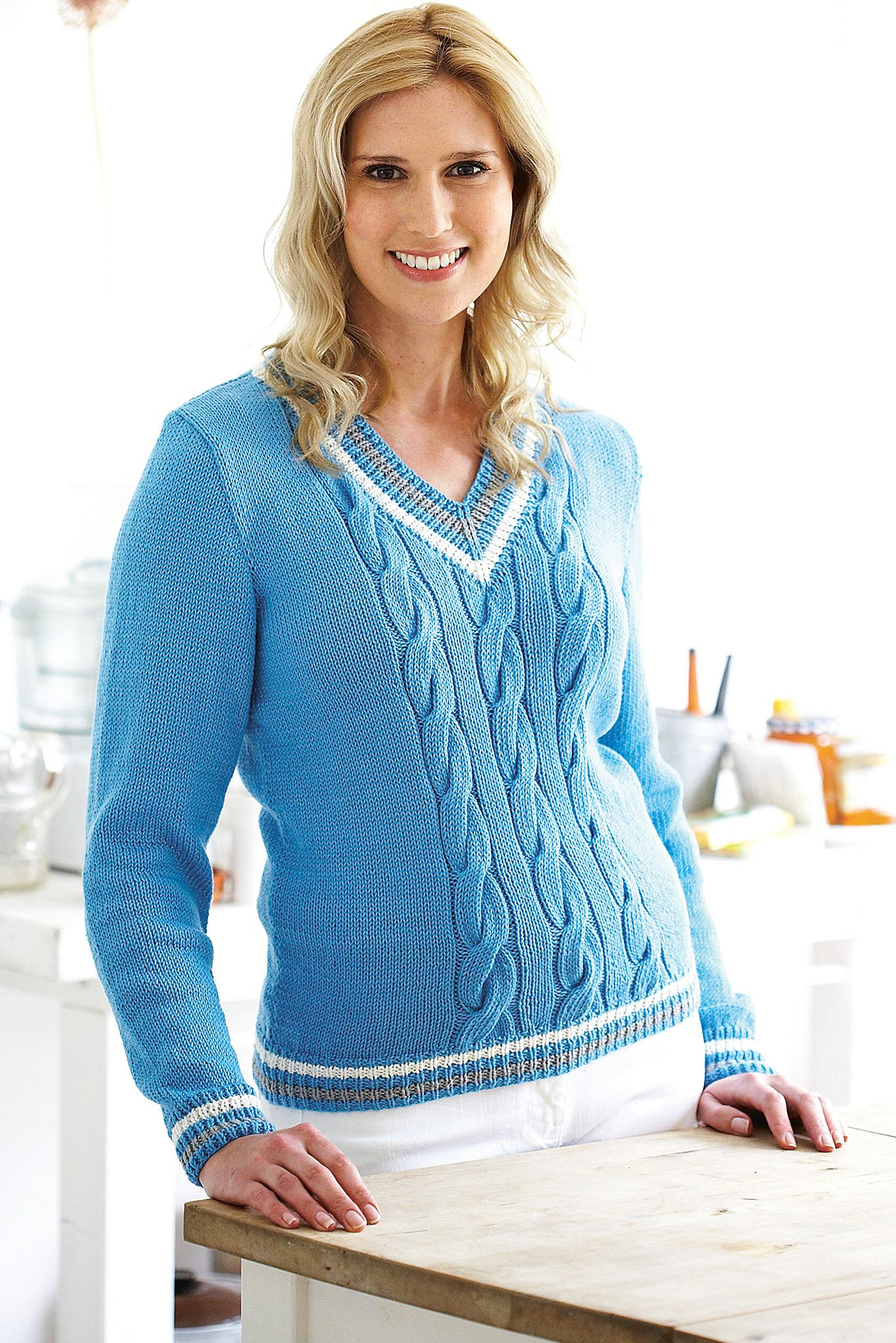 Cable front womens knitted cricket sweater with striped edges cable front womens knitted cricket sweater with striped edges shop the ladies pattern now bankloansurffo Image collections