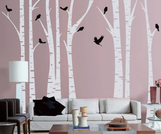 Tree Wall Decals Roundup Mauve Walls Tree Decals And Birch - Wall decals of trees