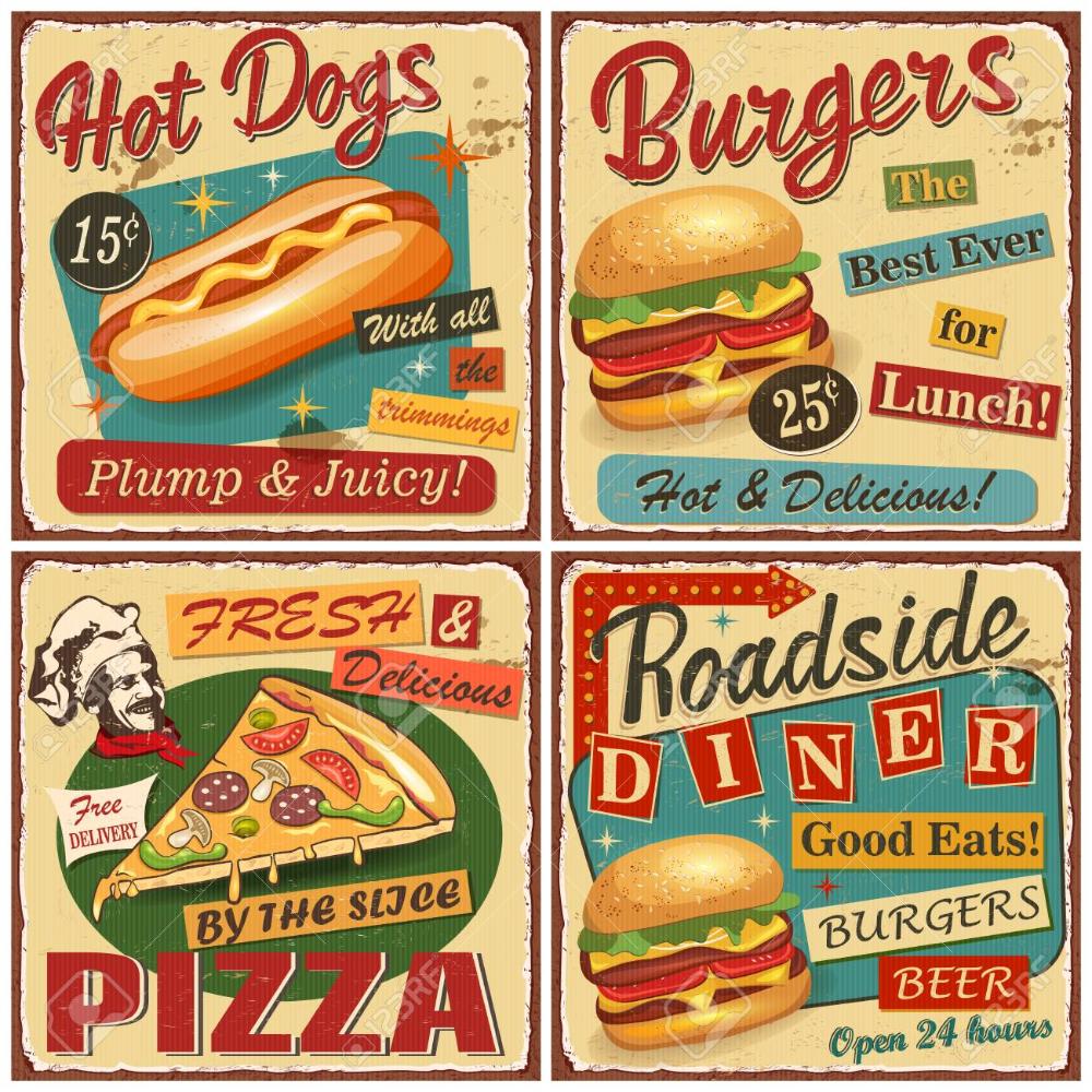 Fast Food Vintage Vector Poster Collection Retro Diner Burger Hot Dog Pizza Metal Sign Comida Retro Cartel De Comida Comida Vintage