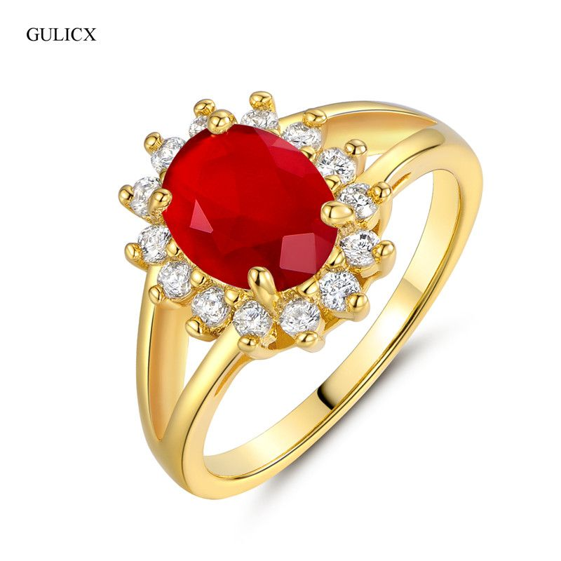 GULICX 2017 New Fashion Party Pure Gold color Big CZ Cubic