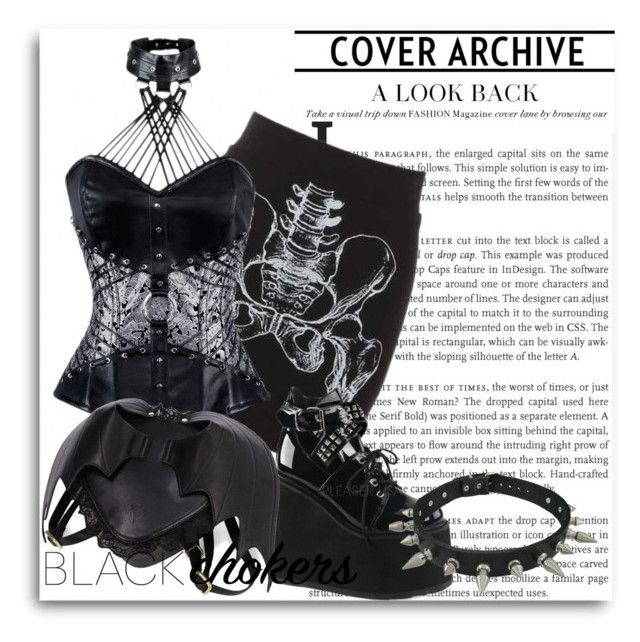 """""""Wear black : Gothic chockers"""" by beverlyridgway ❤ liked on Polyvore featuring Demonia, women's clothing, women, female, woman, misses and juniors"""