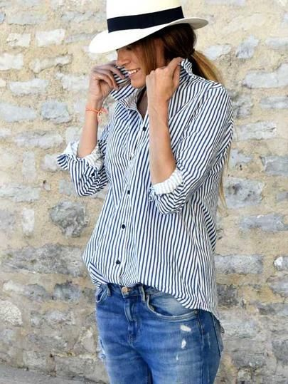 striped collared shirt, blue lapel blouse, vertical striped button down, button down shirt, t shirt - Lyfie