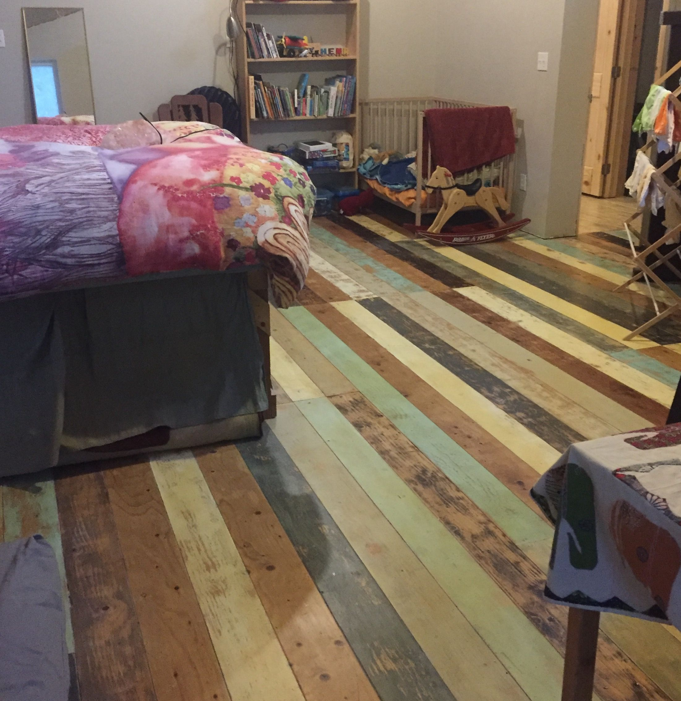 Patchwork Plywood Subfloor Faux Planks Routed In Using 1 8 Deep V Groove Bit And A Router Sled Jo Diy House Projects Plywood Subfloor Plywood Plank Flooring