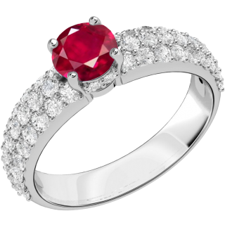 An elegant ruby ring with diamond shoulder stones in 18ct white gold
