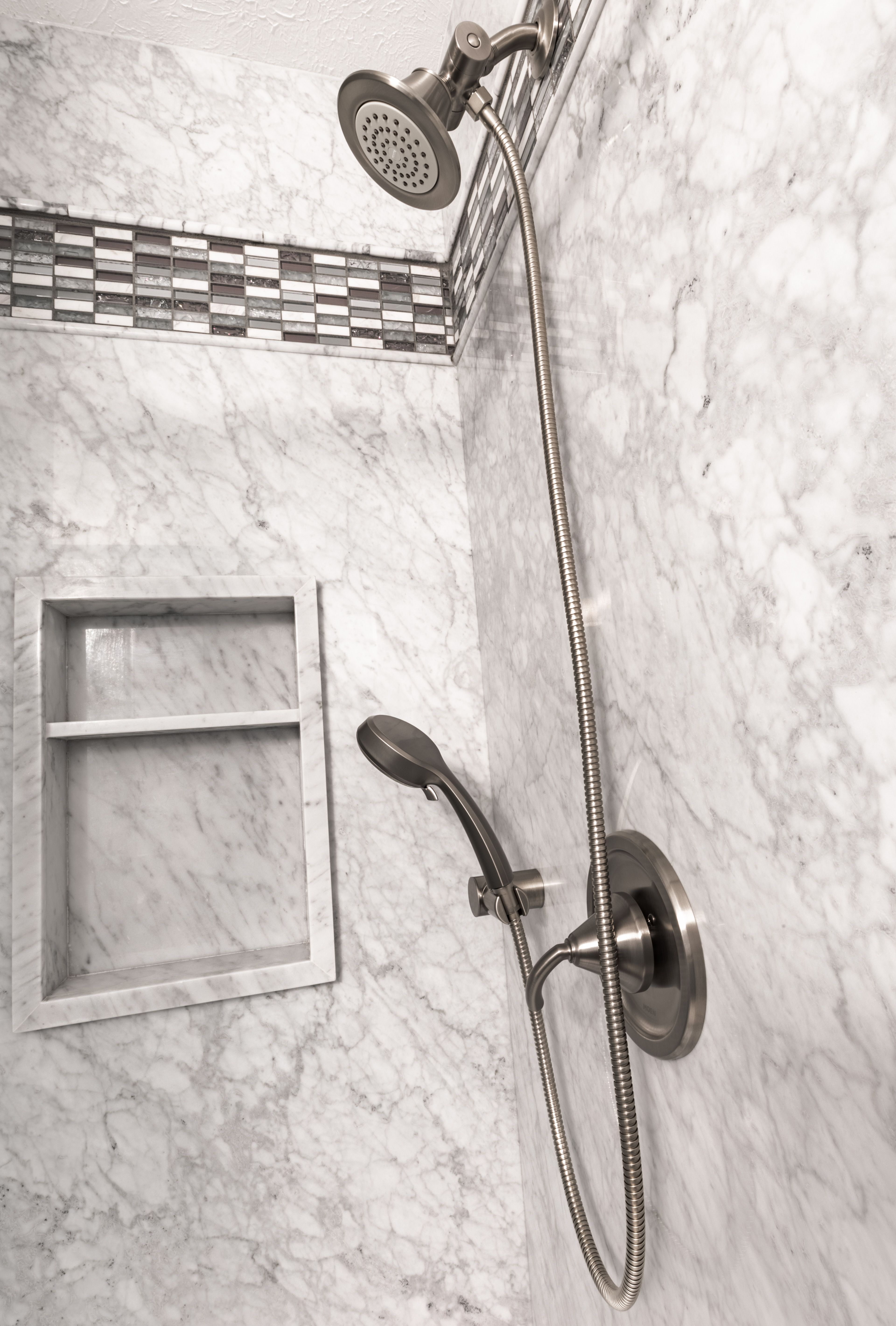 Carrara Marble Natural Stone Slab Shower By Re Bath Omaha With
