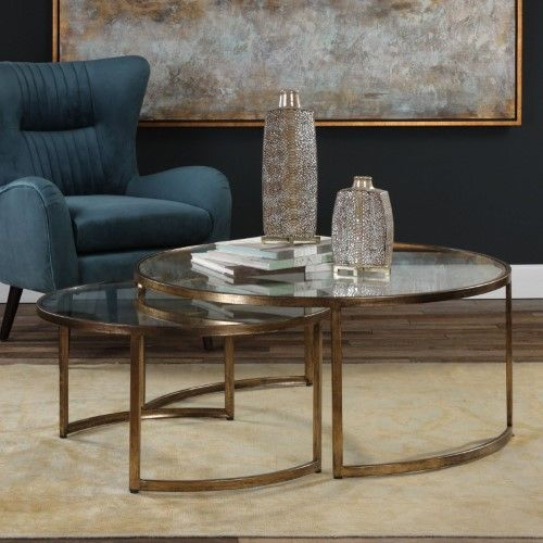 Best Uttermost Rhea Nested Coffee Tables Set Of 2 Gold 640 x 480