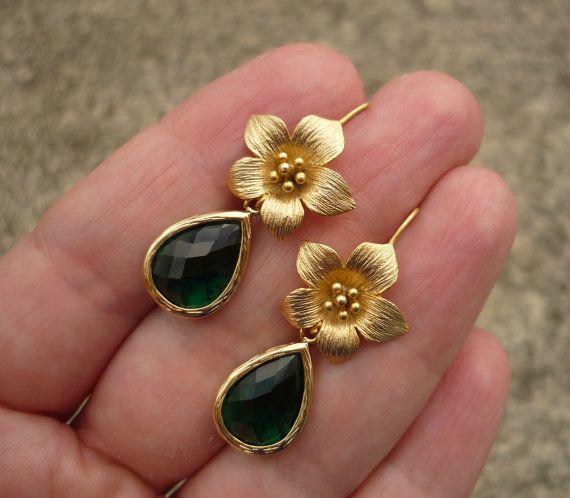 Emerald green drop earrings kelly green earrings by ShannonStifel