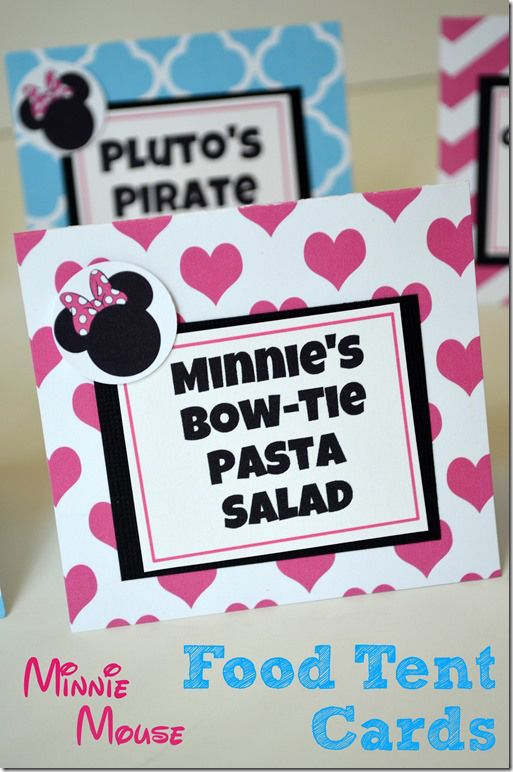 DIY Minnie Mouse Birthday Food Tent Cards First birthday