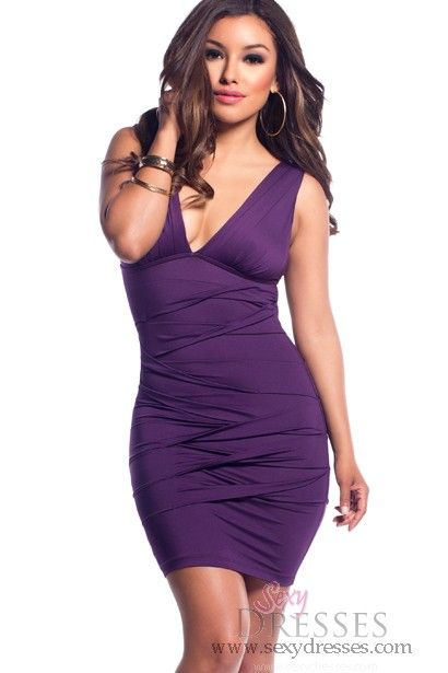 da8c559409 Dark Purple Pleated Bodycon Deep V-Neck Dress. Simple and sexy  www.sexydresses.com