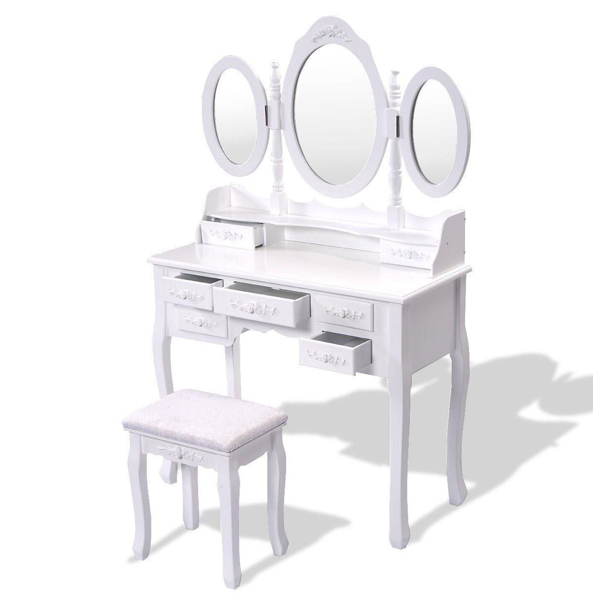 Best Black White Vanity Makeup Dressing Table W Tri Folding 400 x 300