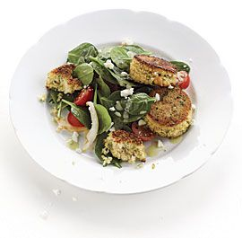 Spinach and Artichoke Salad with Couscous Cakes and Feta