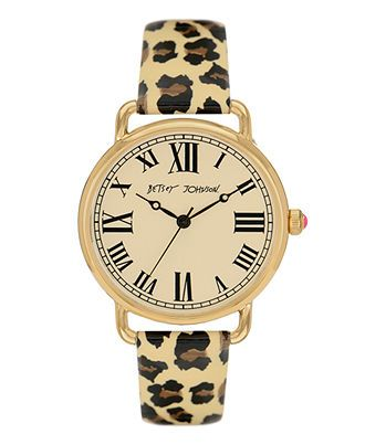 Betsey Johnson Watch, Women's Leopard Print Patent Leather Strap BJ00032-03 - Women's Watches - Jewelry & Watches