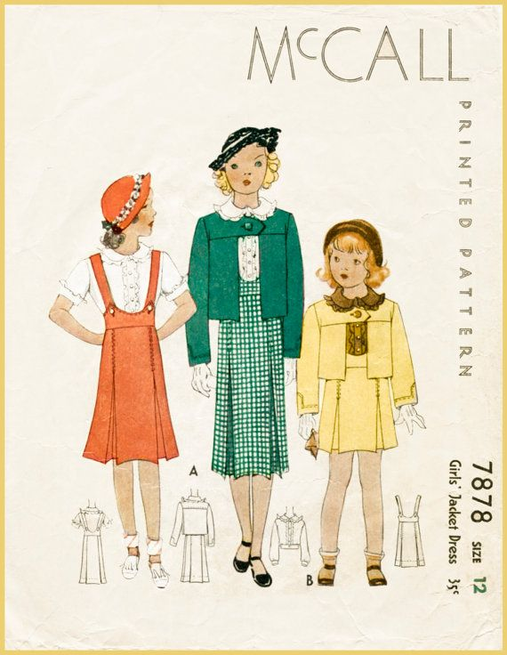 Vintage Sewing Pattern McCall 7878 1930s 30s children\'s kid\'s girl\'s ...