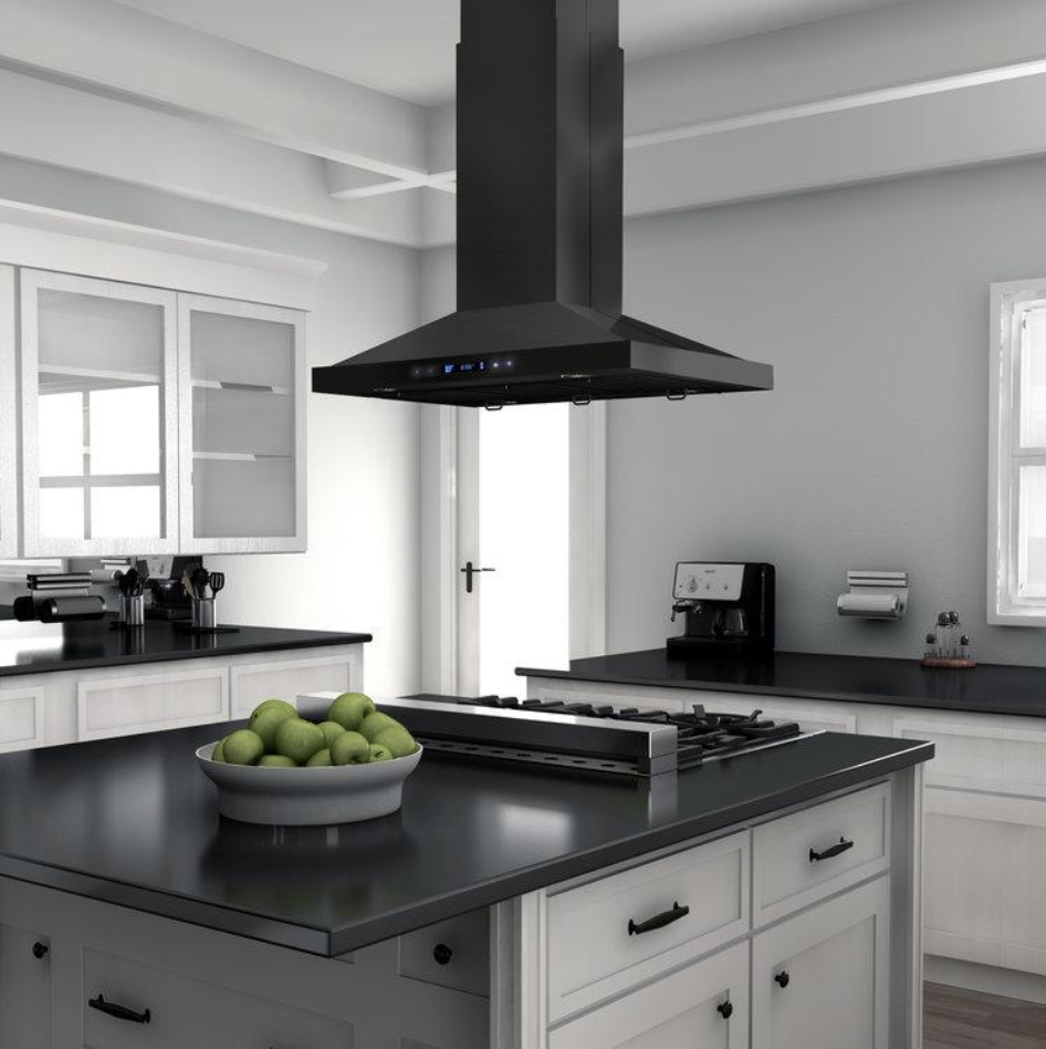 Zline Black Stainless Steel Island Mount Range Hood Kitchen Remodel Range Hood Kitchen And Bath