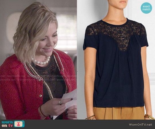 Hanna's lace top on Pretty Little Liars.  Outfit Details: http://wornontv.net/50597/ #PLL