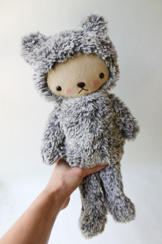 Kawaii Teddy Bear Plushie Speckled Gray and White di bijoukitty, $39.00