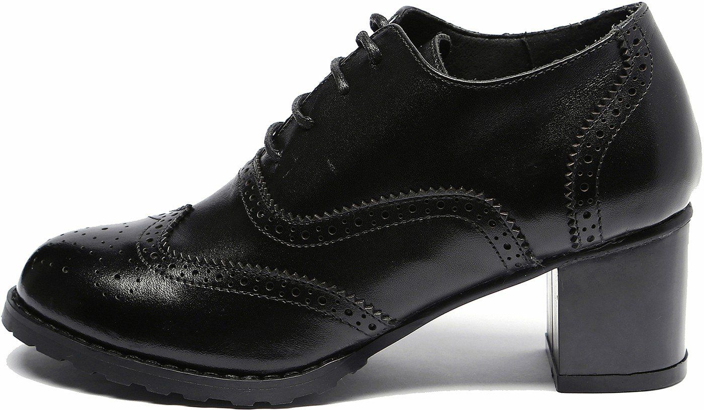 2b3cc6535c33b6 ... Ulite Black Perforated Laceup Wingtip Leather Pump Oxfords Vintage  Oxford Shoe Women Blk 8 - ...