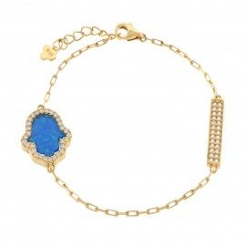18K Gold ptd Sterling Silver Hamsa Created Opal & Bar CZ Bracelet